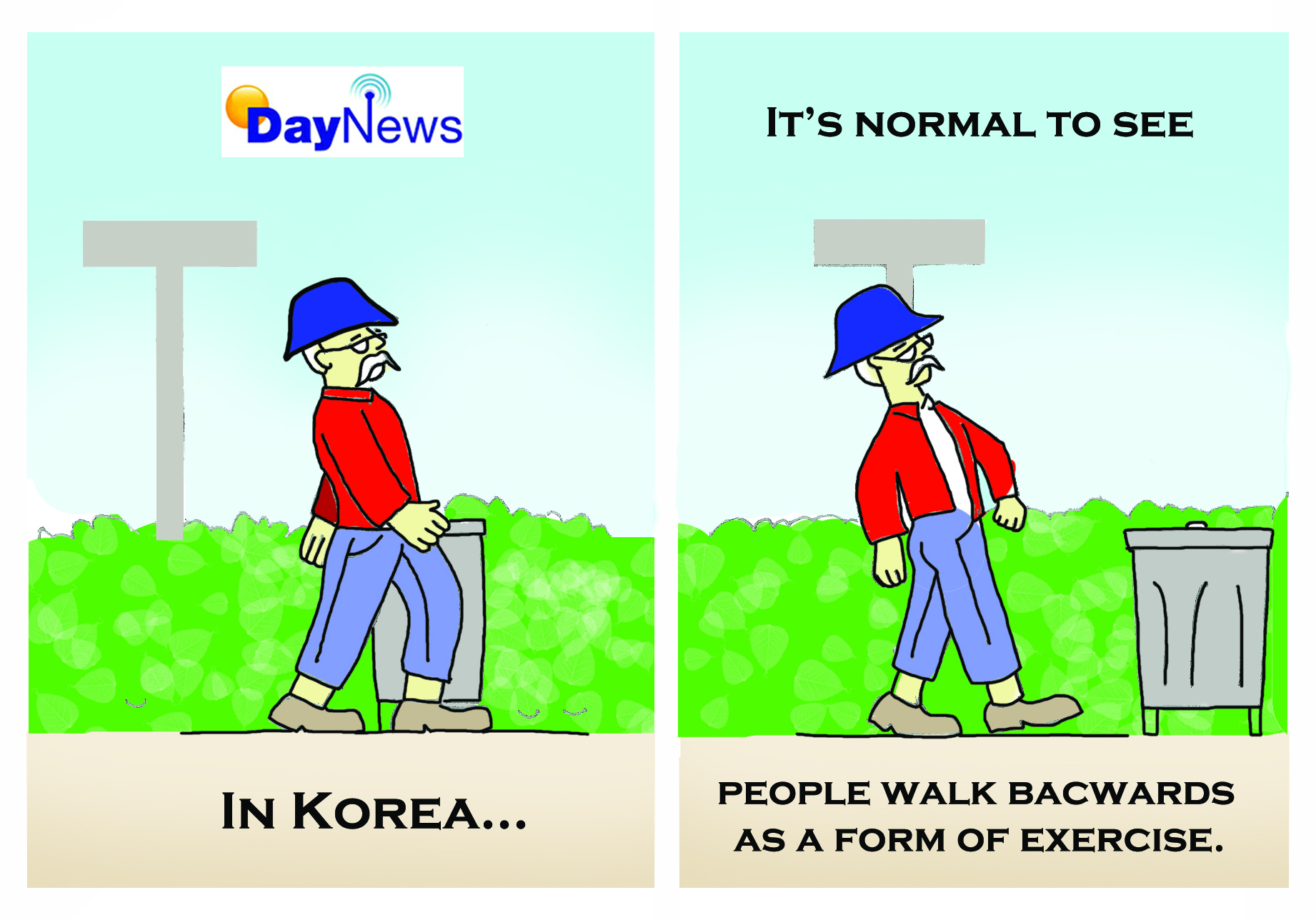Korea - Walking Backwards - Day News Cartoon Of The Day