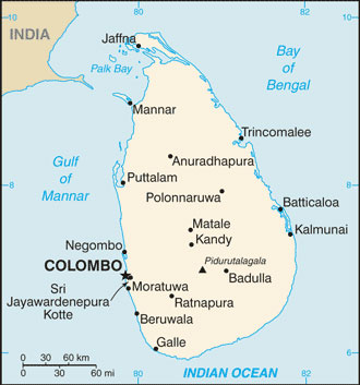 Sri Lanka Geographical Map