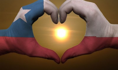 Chile Flag Colored Hands Gesturing Love