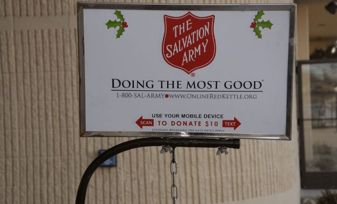 49625737 - lewiston /idaho /usa_ 09 december  2015 _  donation collecting for salvation army for chrstmas charity